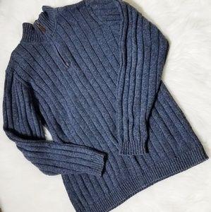 Oscar De La Renta Blue Ribbed Pullover Sweater L